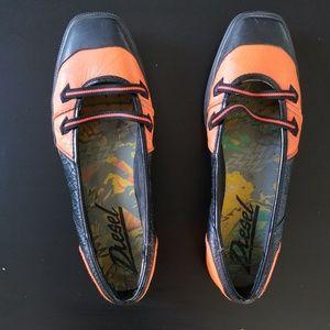 Orange Padded Leather Diesel Flats